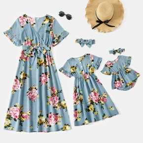 Allover Floral Print Short Sleeve Midi Dress for Mom and Me
