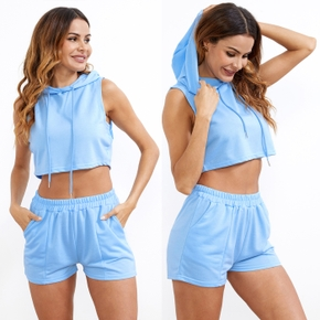casual Solid Hooded Sleeveless short Hoodie Shorts Set