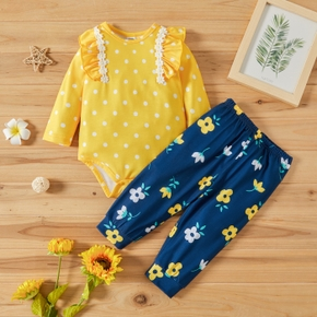 Baby Girl 2pcs Polka Dot Yellow Long-sleeve Romper and Floral Trouser Set