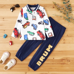 2-piece Toddler Boy Vehicle Print Long-sleeve Polo Shirt and Letter Print Pants Set