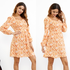 Floral Print Casual Square Neck H Long-sleeve Dress