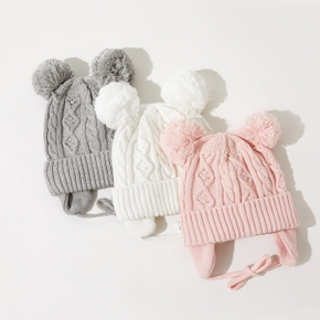 Baby Solid Fleece Pompon Knitted Hat