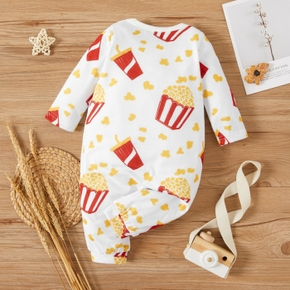 Baby Boy/Girl Fast Food Print White Long-sleeve Jumpsuit