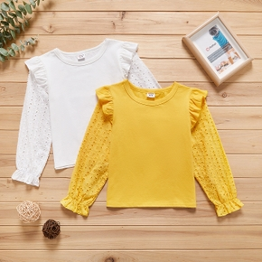 Kid Girl Ruffled Long-sleeve Hollow out Solid T-shirt