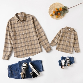Plaid Print Khaki Front Button Long Sleeve Shirts for Dad and Me
