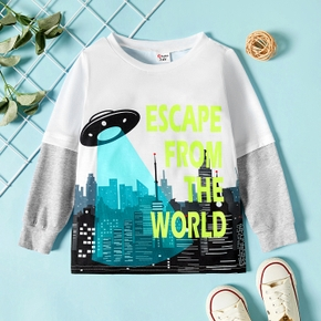 Toddler Boy Letter Building UFO Print Colorblock Long-sleeve Tee