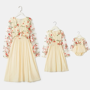 Floral Print Long-sleeve Matching Apricot Dresses