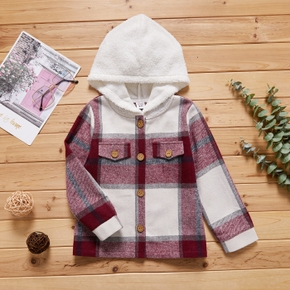 Trendy Kid Girl Plaid Fuzzy Hooded Button Design Jacket Coat