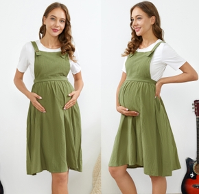 Maternity Solid Casual Cotton Strap Dress
