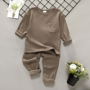 2-piece Toddler Boy Round-collar Long-sleeve Ribbed Solid Top with Pocket and Elasticized Pants Casual Set