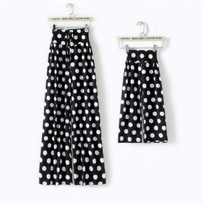 Allover Polka Dots Print Athleisure Wide Leg Pants for Mom and Me