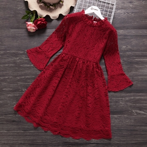 Beautiful Kid Girl Lace Hollow out Bell sleeves Zipper Red Tulle Dress