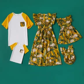 Family Matching Floral Print Dresses and Short-sleeve T-shirts Sets