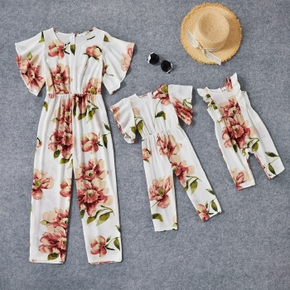Floral Print Ruffle Sleeve Matching White Jumpsuits