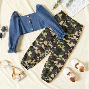 2-piece Toddler Girl Button Design Square Neck Denim Blouse and Camouflage Pants Set