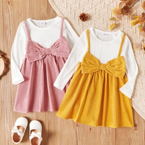 Toddler Girl Ribbed White Long-sleeve Faux-two Bowknot Design Colorblock Dress