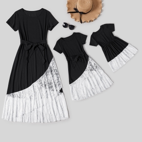 Black Short-sleeve Splicing White Lace Hem Maxi Dress for Mom and Me