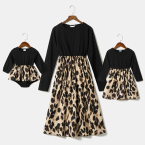Leopard Print Black Splicing Long Sleeve Dress for Mom and Me