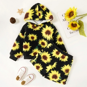 2-piece Toddler Girl Sunflower Print Fuzzy Hoodie and Shorts Set