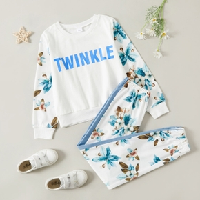 2-piece Kid Girl Letter Floral Print Long-sleeve T-shirt and Colorblock Elasticized Pants Casual Set