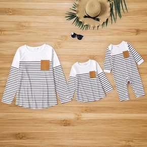 Stripe Print with Splicing Pocket White Long-sleeve T-shirts for Mom and Me