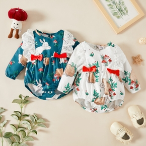 Baby Girl Plants Print Long-sleeve Hollow Out Ruffle Bowknot Romper