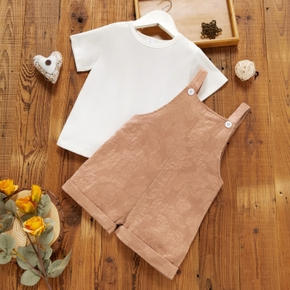 2-piece Toddler Girl Short-sleeve White T-shirt and Flower Embroidered Overalls Set