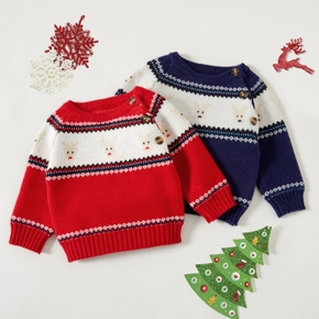 Christmas Deer and Snowflake Long-sleeve Baby Knitted Sweater Pullover