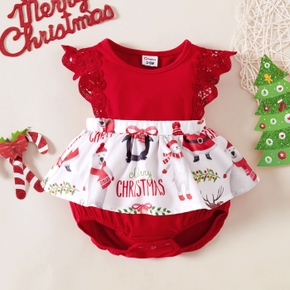 Baby Girl Red Christmas Letter Print Ruffle Splicing Lace Flutter-sleeve Romper
