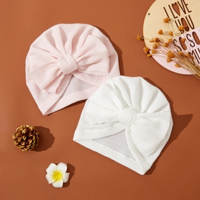 Baby Solid Bow Decor Waffle Hat