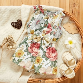 Baby Allover Floral Print Sleeveless Tank Shorts Romper
