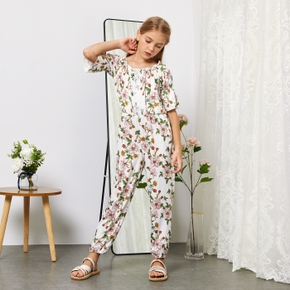 Stylish Kid Girl Floral Print/ Solid Lace Decor Rompers