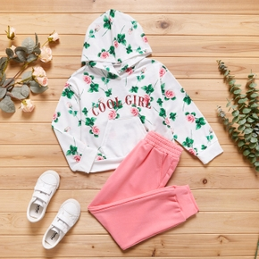 2-piece Kid Girl Letter Floral Print Hoodie Sweatshirt with Pocket and Elasticized Pink Pants Set