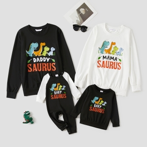 Dinosaur and Letter Print Matching Sweatshirts Pullovers