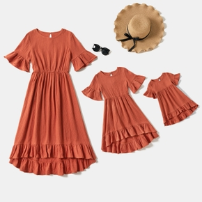 100% Cotton Crepe Solid Coral Half-sleeve Flounce Midi Dress for Mom and Me