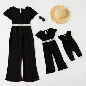 Solid Black Ruffle Short-sleeve V-neck Jumpsuit for Mom and Me