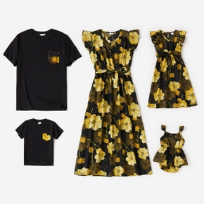 Floral Print Short-sleeve Family Matching Sets(Yellow Ruffle Sleeve V-neck Dresses)