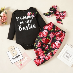 Baby Girl 3pcs Letter Print Black Long-sleeve Romper and All Over Floral Trouser Set