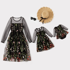 Allover Embroidered Net Yarn Lantern Long-sleeve Matching Dresses