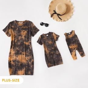 Ribbed Coffee Tie Dye Cotton Short-sleeve Bodycon Mini Dress for Mom and Me