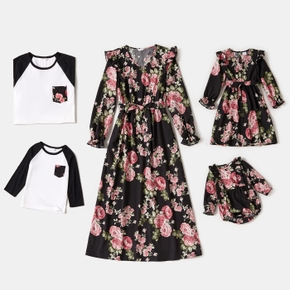 Floral Print Family Matching Sets(Long-sleeve Dresses and Raglan-sleeve T-shirts)