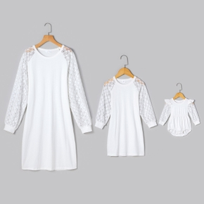 Solid White Lace Splicing Long-sleeve Dress for Mom and Me