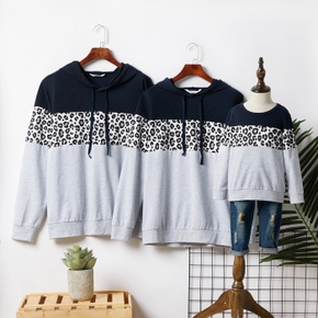 Leopard and Colorblock Long-sleeve Hoodies Family Matching Sweatshirts