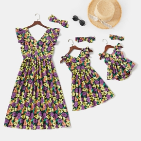 Floral Print V-neck Ruffle-sleeve Midi Dress for Mom and Me