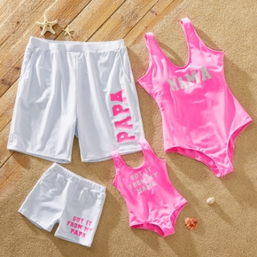 Letter Print Pink and White Family Matching Swimsuits
