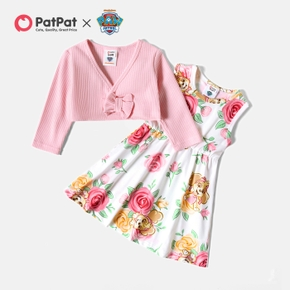PAW Patrol Toddler Girl 2-piece Solid Top and Floral Tank Dress Set