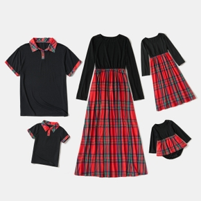 Red and Black Plaid Series Family Matching Sets(Long Sleeve Splice Print Dress and Polo Short Sleeve Shirt)