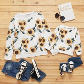 Sunflower Print Long-sleeve Sweatshirt for Mommy and Me