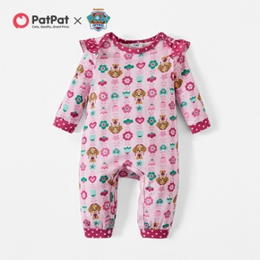 PAW Patrol Little Girl Floral and Dot Allover Cotton Jumpsuit