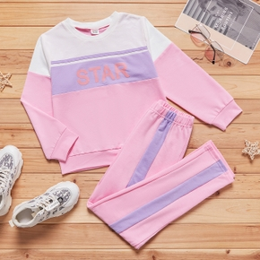 2-piece Kid Girl Letter Print Colorblock Long-sleeve T-shirt and Elasticized Pants Casual Set